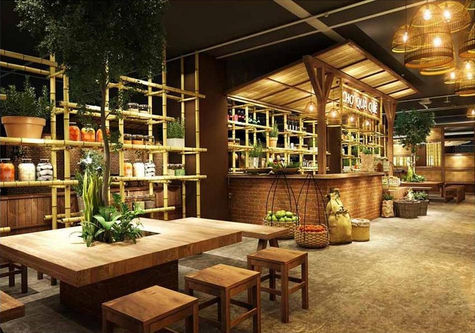 Thiết kế nội thất nhà hàng theo phong cách đồng quê