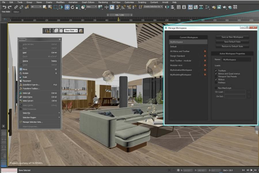 thiết kế nội thấy đơn giản với autodesk 3d max