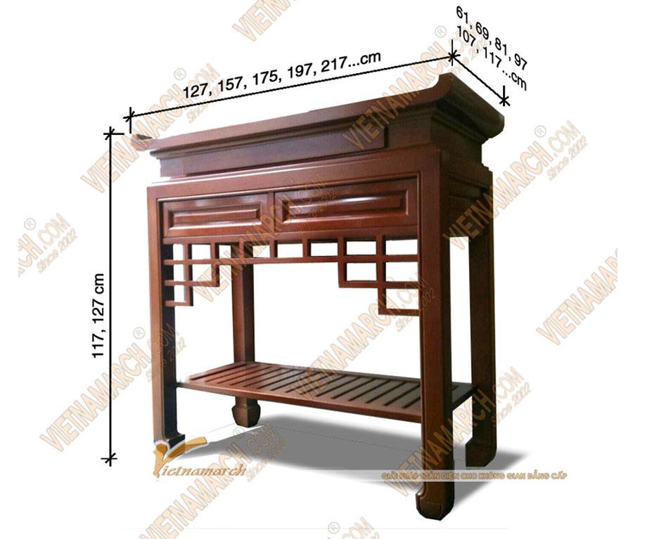 kích thước bàn thờ chuẩn
